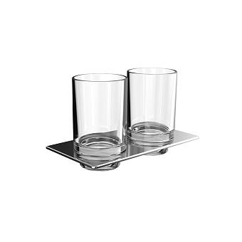 Emco Art Двойной держатель стаканов, стаканы хрустальное стекло прозрачное, подвесной, цвет: хром