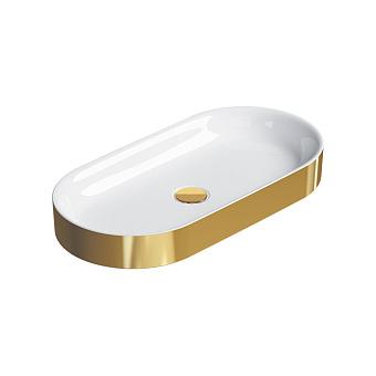 Catalano Horizon Раковина накладная 70х30хh:8.5см., без перелива, цвет: золото/белый
