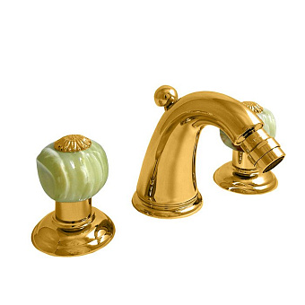 Nicolazzi Onice Смеситель для биде на 3 отверстия, излив: 119мм, цвет: золото