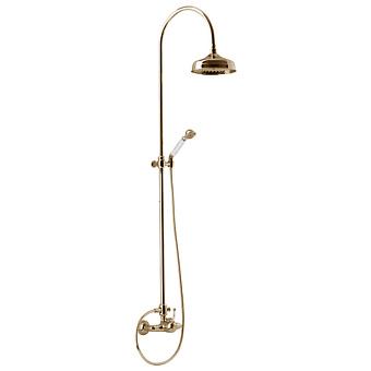 CISAL Arcana Royal Душевой комплект: смеситель, стойка с верхним душем, лейка+шланг, цвет золото