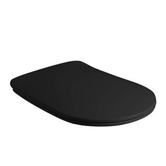 Kerasan Nolita Сиденье для унитаза SLIM быстросъемное, цвет черный матовый, петли хром (микролифт)
