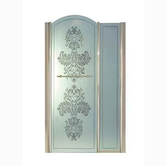 Душевая дверь Gentry Home Arcadia h100 см c фиксированной панелью слева/справа, матовое стекло с прозрачным цветочным декором, ручка и профиль (Incalux)
