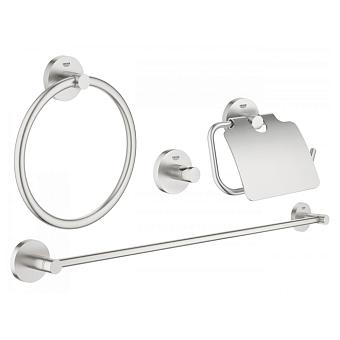 Grohe Essentials Набор аксессуаров для ванной, цвет: сталь