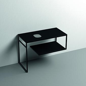 Kerasan Louise Металлическая структура для раковины 100х74см, напольная, с полкой, с 1 отв., с полотенцедержателем, цвет: черный матовый