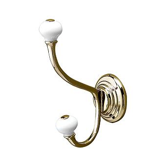 Devon&Devon Chelsea Крючок двойной, подвесной монтаж, цвет: золото/белый