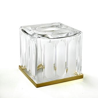 3SC Montblanc Контейнер для салфеток, 13х13хh15 см, настольный, цвет: прозрачный хрусталь/золото 24к. Lucido