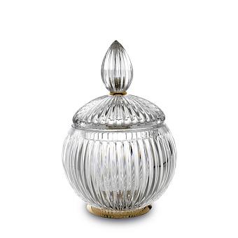 3SC ELEGANCE Баночка универсальная, D=12/h18 см, с крышкой, настольная, цвет: прозрачный хрусталь/золото 24к.