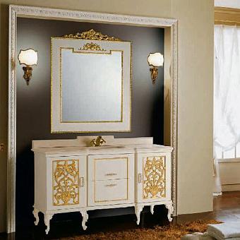 Mobili Di Castello Manet Комплект мебели 86х154х61 см: напольная тумба, мраморная столешница, керамическая раковина, резное зеркало, мрамор Carrara/декор Manet