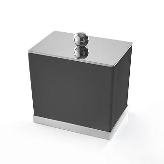 3SC Mood Deluxe Баночка универсальная, 10х10х7 см, с крышкой, настольная, композит Solid Surface, цвет: чёрный матовый/хром
