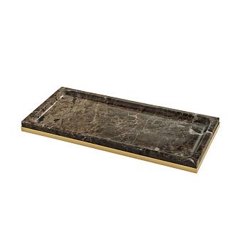3SC PALACE EM.DARK Лоток универсальный, настольный, цвет: мрамор Emperador dark/золото 24к.