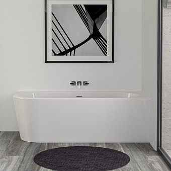 KNIEF Wall Corner L Ванна пристенная с монтажом в правый угол 180х80х60см, с щелевым переливом, со  слив-переливом, цвет белый