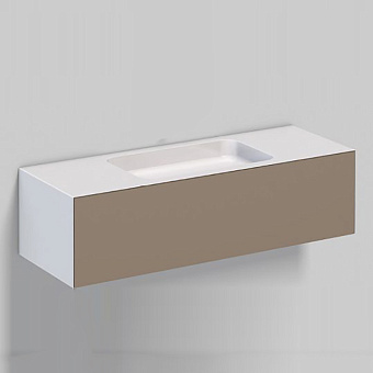 Alape WP Тумба с раковиной, 125.4х50х h35см, без отв., подвесная, цвет: белый/moonstone