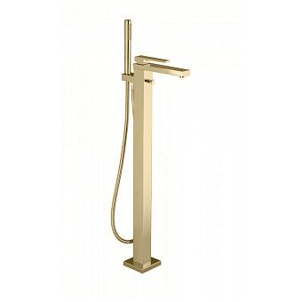 Bongio Stelth Смеситель для ванны напольный, 1 отв., с ручным душем и дивертером, цвет: золото