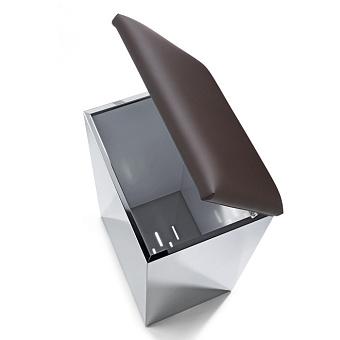 Decor Walther Case HK2 Корзина для белья 42x32x66cм, цвет: сталь полированная / темно-коричневая кожа