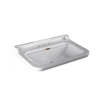 Kerasan Waldorf Раковина керамическая 80х55см, 3 отв, цвет: белый / бронза