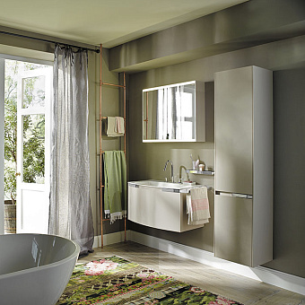 Burgbad Yso Комплект подвесной мебели 89.5x49x45 см, цвет песочный глянцевый с полотенцедержателем слева. цвет хром.