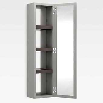 Armani Roca Island Настенный шкаф 30.2х16хh120см, с двумя зеркалами и полочками SX, цвет: silver