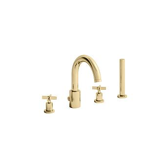 Cristina Cross Road Смеситель для ванны, 4 отв., цвет: золото