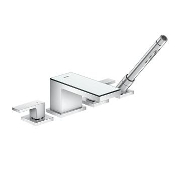 Axor MyEdition Смеситель для ванны, на 4 отв, излив 200мм, цвет: хром/зеркальное стекло