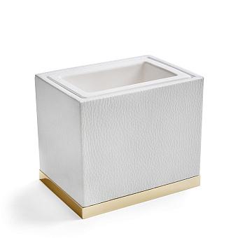 3SC Snowy Стакан настольный,  цвет: белая эко-кожа/золото 24к. Lucido