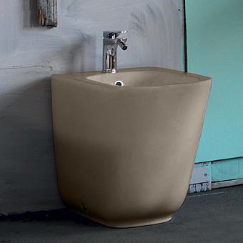 Kerasan Tribeca Биде напольное пристенное 55 см, с 1 отв под смеситель, c креплением WB5N, цвет: Nut brown