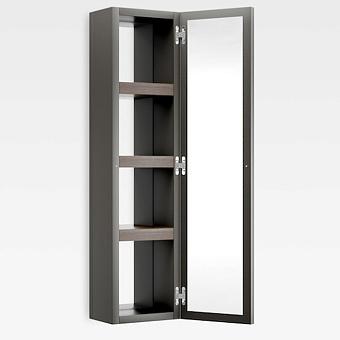 Armani Roca Island Настенный шкаф 30.2х16хh120см, с двумя зеркалами и полочками SX, цвет: nero