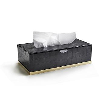 3SC Cocco Держатель для салфеток, отделка: черная кожа, цвет: золото 24к. Lucido