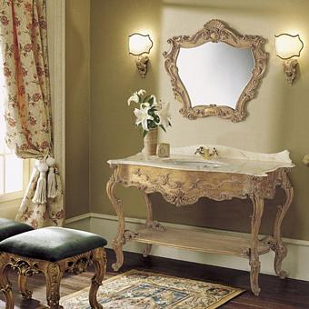 Mobili Di Castello Venezia Комплект мебели 83х130х61 см: напольная тумба, мраморная столешница, керамическая раковина, резное зеркало, мрамор Rosa Portogallo/декор Venezia