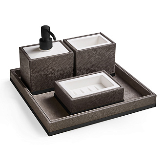 3SC Milano Комплект: стакан, дозатор, мыльница, лоток, цвет: коричневая эко-кожа/черный матовый