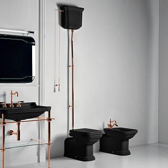 Kerasan Waldorf Унитаз  пристенный удлиненный 65х37см, с высоким бачком, трубой, цвет: черный/золото
