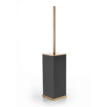 3SC Mood Deluxe Black Туалетный ёршик, напольный, композит Solid Surface, цвет: чёрный матовый/золото 24к.