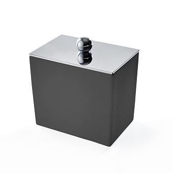 3SC Mood Black Баночка универсальная, 10х10х7 см, с крышкой, настольная,  композит Solid Surface, цвет: чёрный матовый/хром