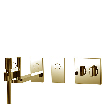 Carlo Frattini Switch Смеситель для душа встраиваемый, термостатический, на 3 положен, ручной душ и черный шланг 1500мм, внешн часть, цвет: золото
