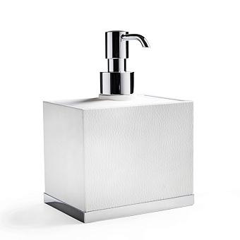 3SC Snowy Дозатор для жидкого мыла, настольный, цвет: белая эко-кожа/хром
