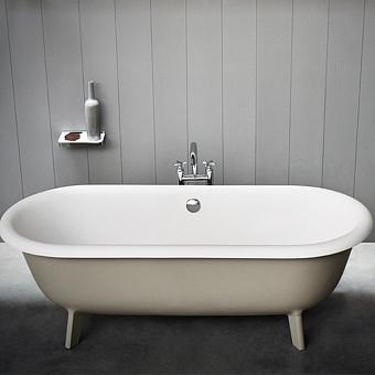 Agape Ottocento Ванна отдельностоящая 178х79х59.5 см, слив-перелив полированный хром, цвет: светло-серый