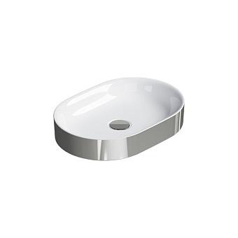 Catalano Horizon Раковина накладная 50х30хh:8.5см., без перелива, цвет: серебро/белый