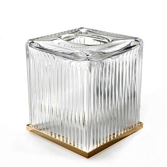 3SC ELEGANCE Контейнер для бумажных салфеток, 13х13х15 см, квадратный, настольный, цвет: прозрачный хрусталь/золото 24к.
