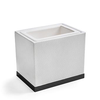 3SC Snowy Стакан настольный,  цвет: белая эко-кожа/черный матовый