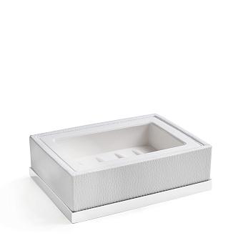 3SC Snowy Мыльница настольная, цвет: белая эко-кожа/белый матовый