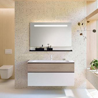 Burgbad Fiumo Комплект подвесной мебели 122х49х61см, с раковиной на 1 отв., ручки черные матовые, цвет: Eiche Dekor Cashmere/белый матовый