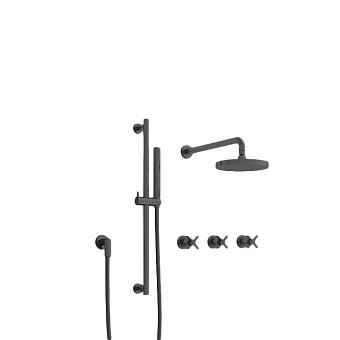 Cristina Cross Road Душевой комплект: смеситель встраиваемый, стойка с ручным душем, верхний душ, гибкий шланг, цвет: черный матовый