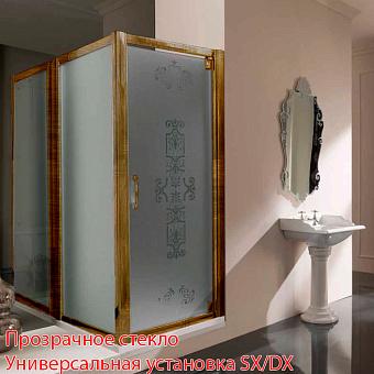 SAMO VC Душевая дверь распашная, профиль и ручка бронза, прозр. стекло с покрытием star clean, (86-94)х1900мм