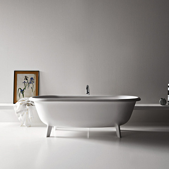 Agape Ottocento Ванна отдельностоящая 178х79х59.5 см, слив-перелив нержавеющая сталь, цвет: белый