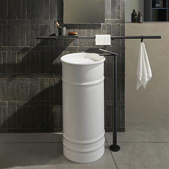 Agape Vieques Раковина напольная d43.5x90.4 см, круглая, без отв., выпуск в стену, цвет: белый