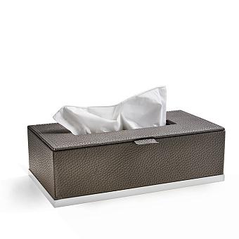 3SC Milano Контейнер для бумажных салфеток, 25х13хh8 см, прямоугольный, настольный, цвет: коричневая эко-кожа/белый матовый