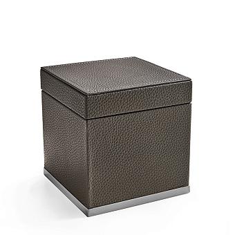 3SC Milano Коробочка универсальная, 14х14хh14см, с крышкой, настольная, цвет: коричневая эко-кожа/хром