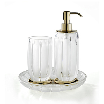 3SC Montblanc Комплект: стакан, дозатор, лоток, цвет: прозрачный хрусталь/золото 24к. Lucido