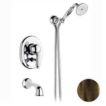 Nicolazzi El Capitan Смеситель для ванны однорычажный, встраиваемый, с изливом 160мм и ручным душем, цвет: тёмная бронза