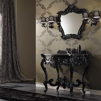 Mobili Di Castello Murano Комплект мебели 83х94х64 см: напольная тумба, мраморная столешница, раковина, резное зеркало, мрамор Nero Marquinia/декор Murano black
