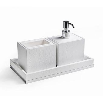 3SC Snowy Комплект: стакан, дозатор, лоток, цвет: белая эко-кожа/хром
